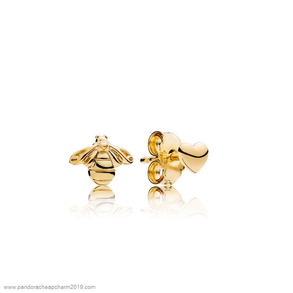Pandora Specials Bee And Heart Earring Studs