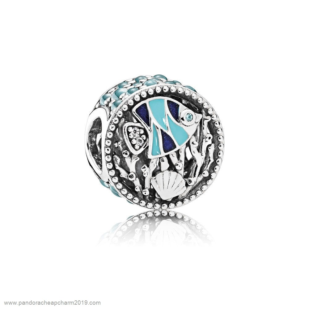 Pandora Specials Pandora Vacation Travel Charms Ocean Life Charm Mixed Enamel Multi Colored Cz
